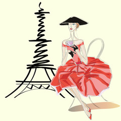 Fashion woman in Vietnamese hat near Eiffel Tower Paris