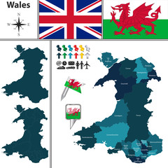 Map of Wales with Principal Areas