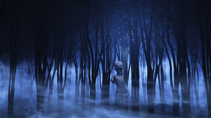 Fototapete - 3D alien in a foggy forest