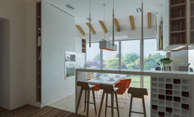 stylish modern interior of the house