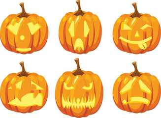vector image of four pumpkins with carved scary faces, pumpkin Halloween