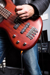 Rock musician playing bass