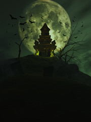 Wall Mural - 3D Halloween castle with bats in the sky