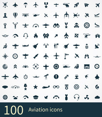 aviation 100 icons universal set