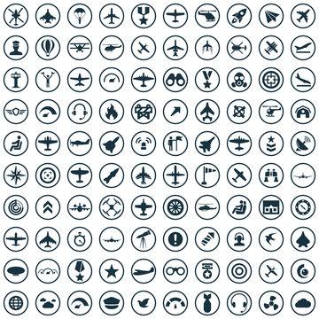 aviation 100 icons universal set