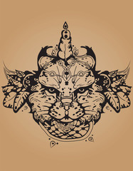 Background of a lion mehndi