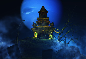 Wall Mural - 3D Halloween background with spooky castle