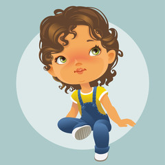 Vector portrait of cute little girl sitting looking up. Schoolgirl with brown curly hair wearing blue jeans jumpsuit. Isolated on white background
