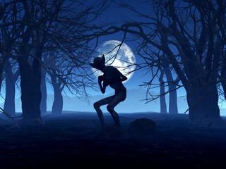 Wall Mural - 3D demonic figure in spooky forest