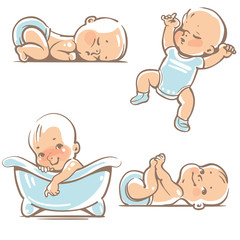 Set with cute baby boys 0-12 months. Various poses. First year activities. Sleeping positions, on stomach, on back, legs in hands. Swimming in bath. Vector Illustration isolated on white background
