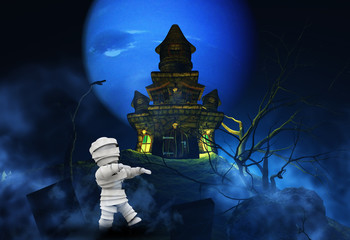 Fototapete - 3D Halloween background with zombie and spooky castle