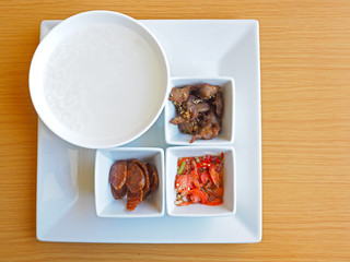 rice porridge with side dish