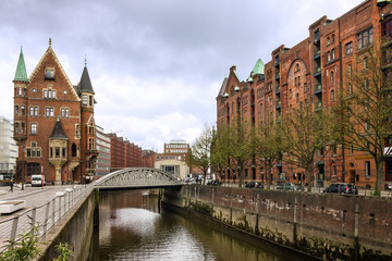 Hamburg, Germany. Canal waterfront. Old buildings