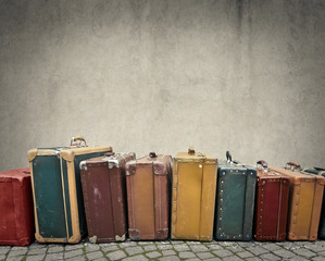 Photo sur Aluminium Retro Suitcases