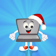 laptop with Christmas hat