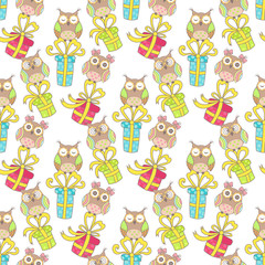Christmas seamless pattern with gifts and owls on a white background