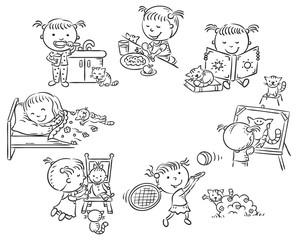 Wall Mural - Little girl's daily activities