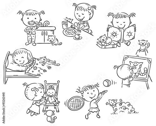 Wall mural Little girl's daily activities