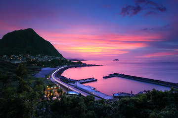 night view of northern coast in taiwan
