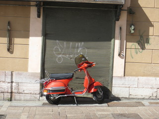 Moped in Spanish village