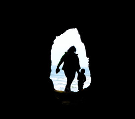 Mother, Son, Cave, and Sea