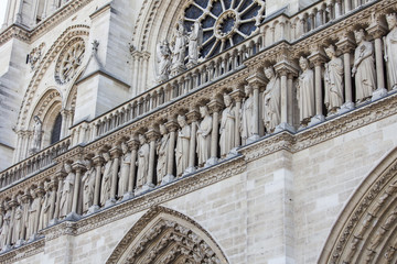 PARIS, FRANCE, on AUGUST 30, 2015. Architectural details of Notre-Dame de Paris. Notre-Dame de Paris is one of symbols of Paris.