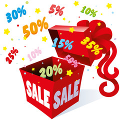 Holiday gift packaging box with bow from which the fireworks fly colorful symbols per cent for different sales and great deals for saving money, vector