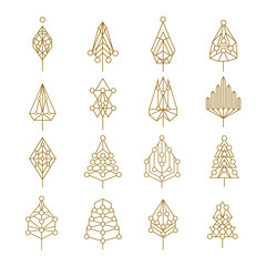 Christmas geometry abstract outline pine tree set