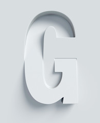 Letter G slanted 3d font engraved and extruded from the surface