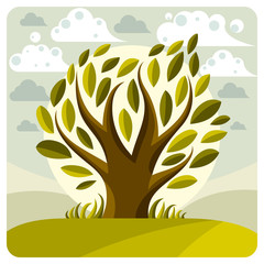 Art vector graphic illustration of stylized tree and peaceful la