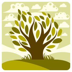 Art vector graphic illustration of stylized tree and peaceful sp