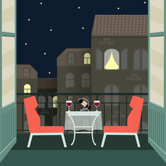 night romantic date with wine on balcony. vector flat illustration
