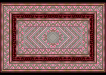 Carpet witha pattern from roses on the border and the middle