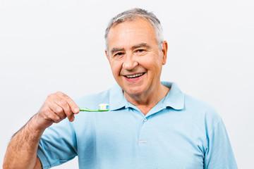 Dental hygiene for senior man