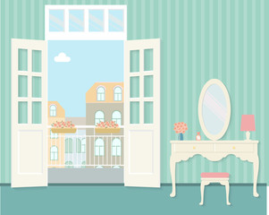 vintage bedroom with dressing table and open balcony. Flat vector illustration