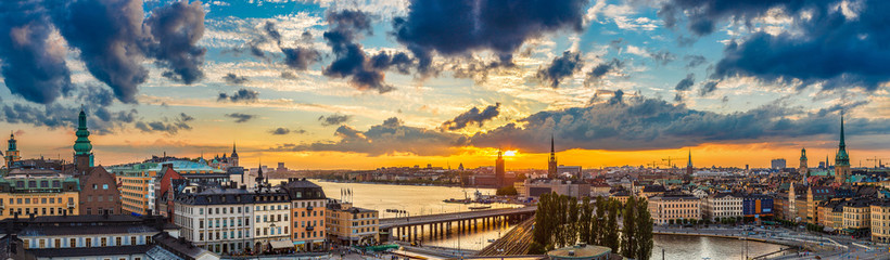 Printed roller blinds Stockholm Scenic summer night panorama of Stockholm, Sweden
