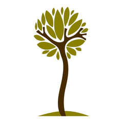 Artistic stylized natural symbol, creative tree illustration.