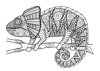 Hand drawn chameleon zentangle style for coloring book,shirt design effect,logo,tattoo and other decorations.