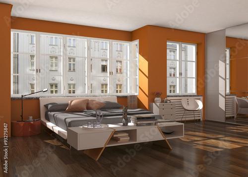 schlafzimmer mit bett und kleiderschrank stockfotos und lizenzfreie bilder auf. Black Bedroom Furniture Sets. Home Design Ideas