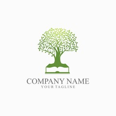 Book Oak Tree Logo Vector
