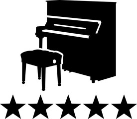 Piano with five stars