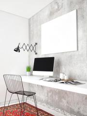 3D illustration of poster frame template, workspace mock up, 3d render