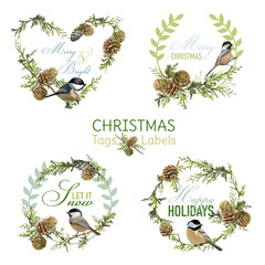 Vintage Christmas Birds - Banners, Tags and Labels