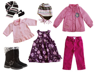 Child's clothes isolated on white.