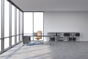 A workplace in a modern corner panoramic office with copy space in the windows. A black desk with a laptop, brown leather chair and a bookshelf with black document folders. 3D rendering.