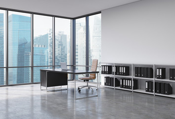 A CEO workplace in a modern corner panoramic office with Singapore city view. A black desk with a laptop, brown leather chair and a bookshelf with black document folders. 3D rendering.