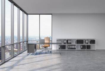 A workplace in a modern corner panoramic office with New York city view. A black desk with a laptop, brown leather chair and a bookshelf with black document folders. 3D rendering.