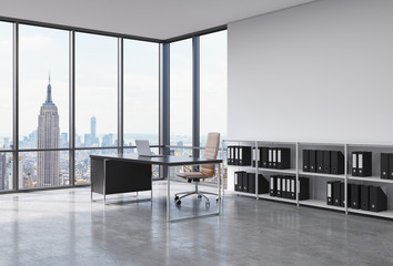 A CEO workplace in a modern corner panoramic office in New York city. A black desk with a laptop, brown leather chair and a bookshelf with black document folders. 3D rendering.