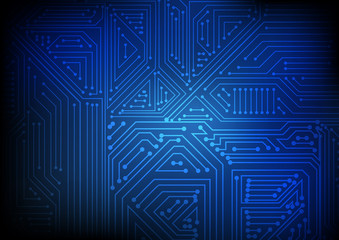 Vector : Abstract electronic circuit on blue background