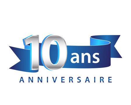 10 Ruban Bleu logo Anniversaire